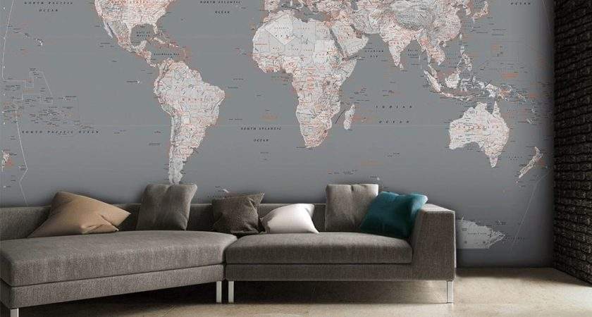 Detailed Silver Grey World Map Feature Wall