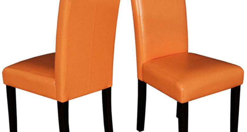 Dining Chairs Set Orange Parson High Back Upholstered