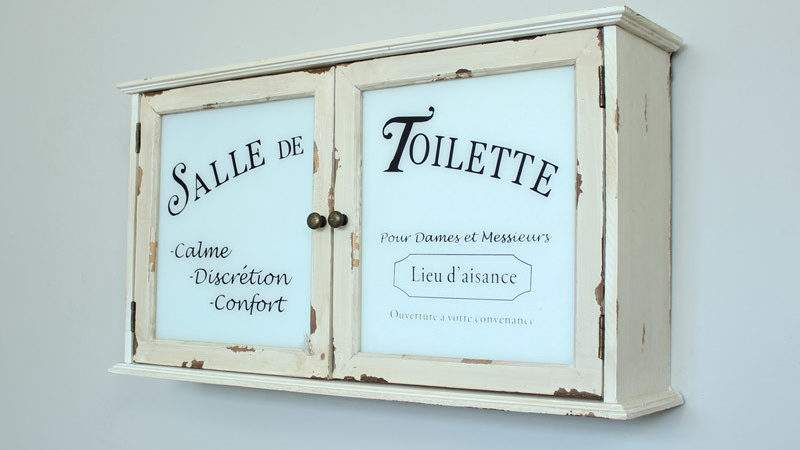 Distressed Cream French Style Bathroom Wall Cabinet