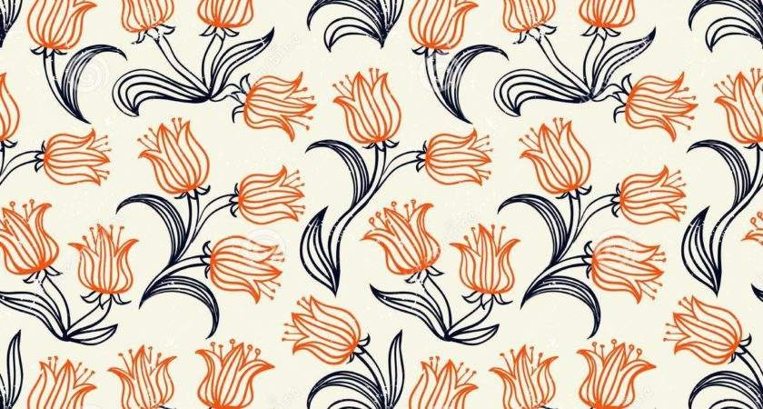 Ditsy Floral Pattern Small Red Tulips Vector