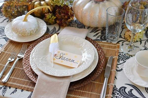 Diy Thanksgiving Table Gold Feather Polka Dot Place