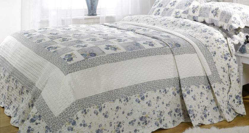 Double Blue Floral Patchwork Quilted Bedspread Throw