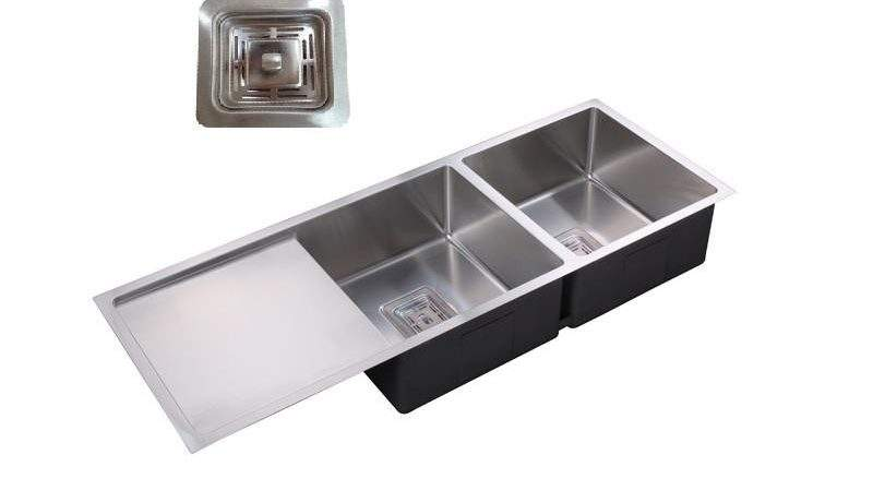 Double Bowl Drainer Under Over Flush Mount Sink