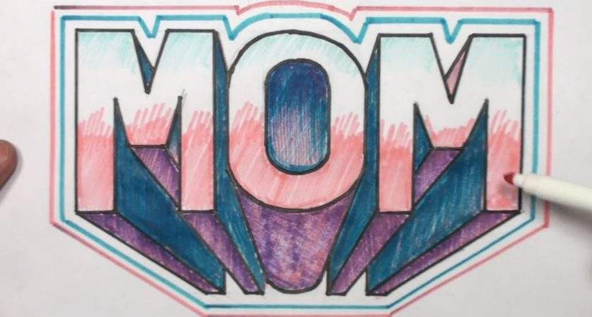 Draw Block Letters Mom One Point Perspective
