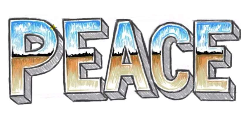 Draw Peace Block Letters Chrome