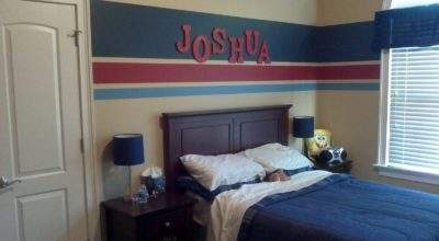 Eat Sleep Decorate Striped Walls Boys Bedroom Finished