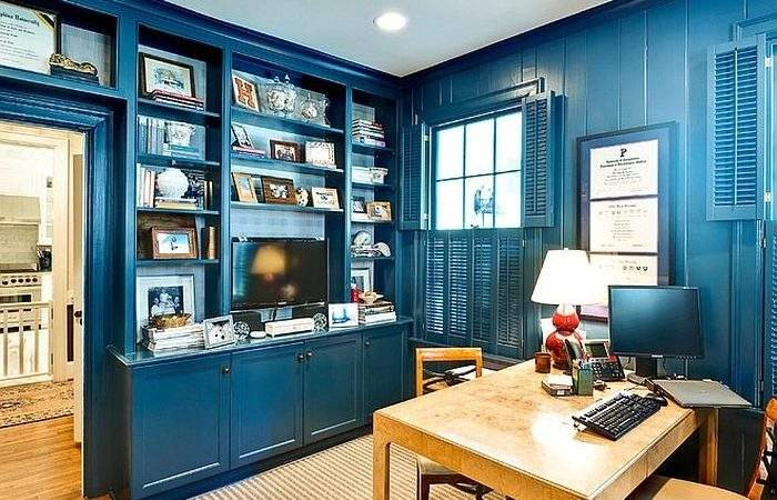 Eclectic Home Office Ideas Cheerful Blue