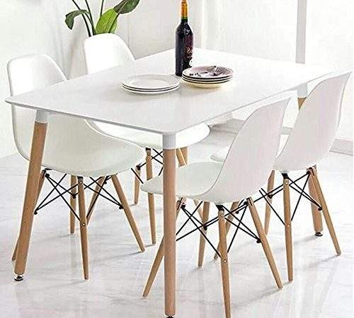 Eiffel Retro Design Wood Style Table Chair Dining Set
