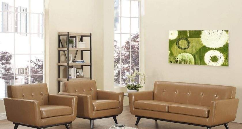 Engage Contemporary Button Tufted Leather Living Room