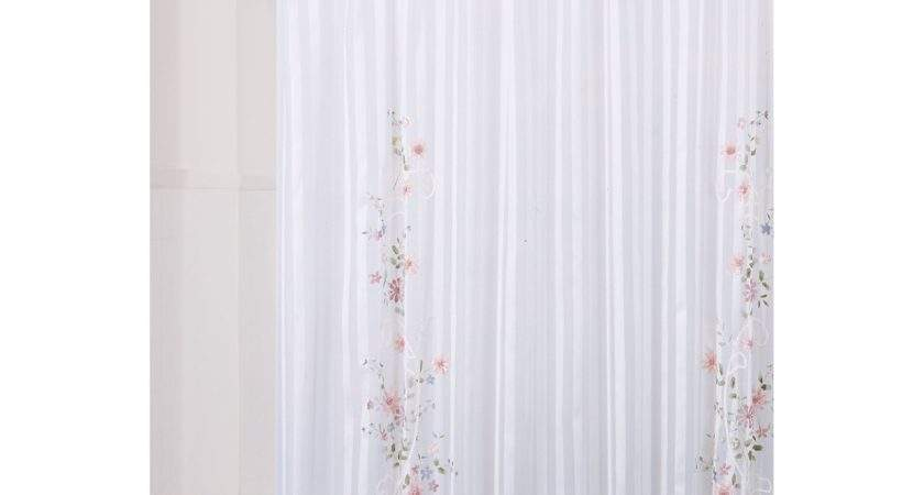 Essential Home Shower Curtain Ribbon Flower Fabric