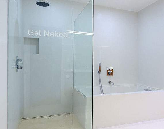Etched Glass Get Naked Bathroom Wall Art Vinyl Decal