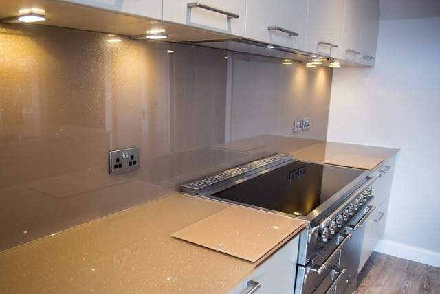 Expresso Delight Glitter Glass Kitchen Worktop Island