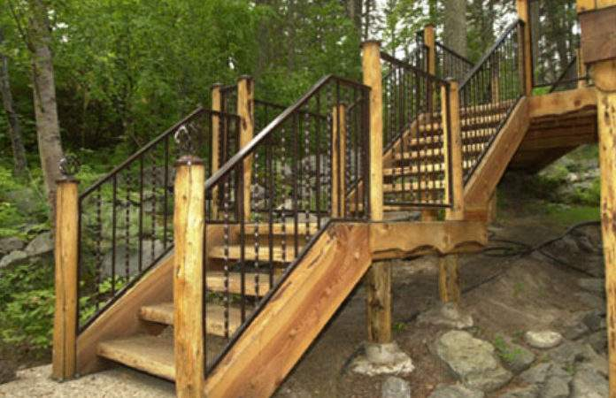 Exterior Wooden Stairs Colonial Porch Home