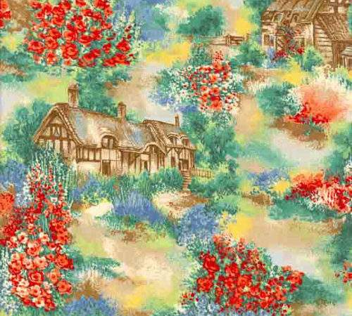 Fabric Freedom Quiet Place Country Cottage Red Patchwork