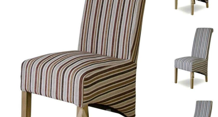 Fabric Striped Dining Chairs Solid Oak High Quality