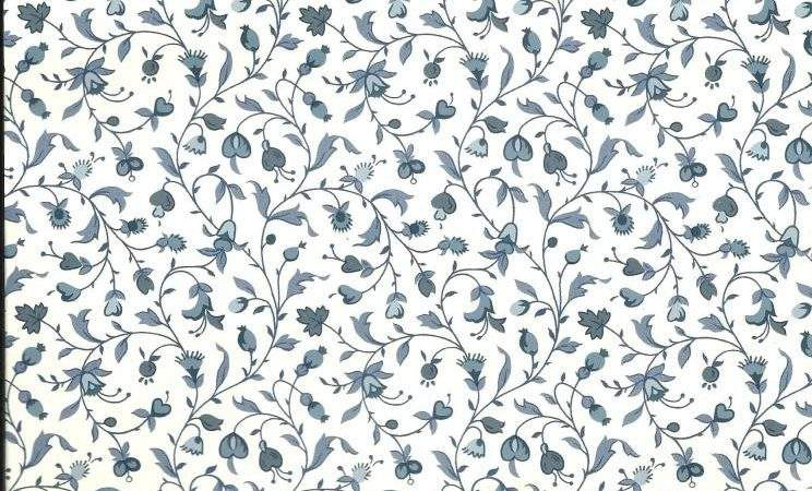 Federal Blue Gray Small Print Floral Heart