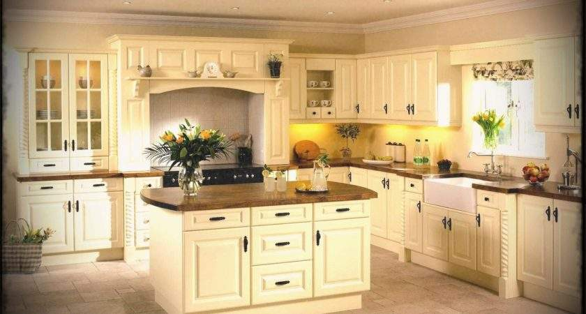 Fetching Shape Kitchen Featuring Cream Color Cabinets