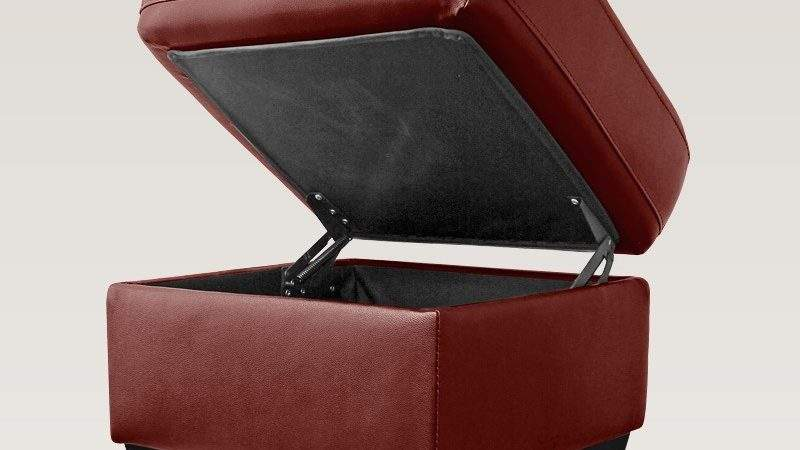 Fisherwick Cranberry Red Leather Footstool Storage