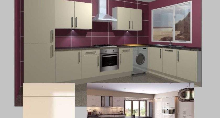 Fitted Kitchen Units Complete Gloss Cream Doors High