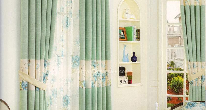 Floral Pattern Light Green Bedroom Curtains New Arrival