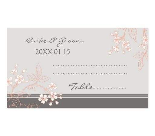 Floral Vintage Wedding Table Place Setting Cards Business