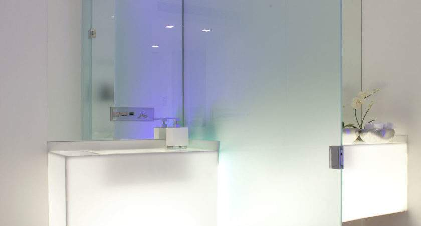 Fluorescent Bathroom Design Glass Partition Wall
