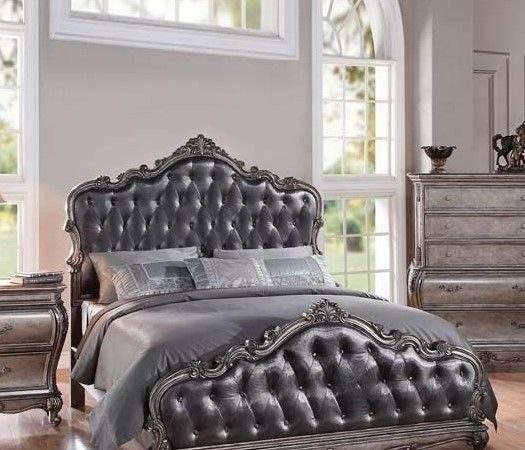Formal Luxury Antique Chantelle Silver Queen Bed