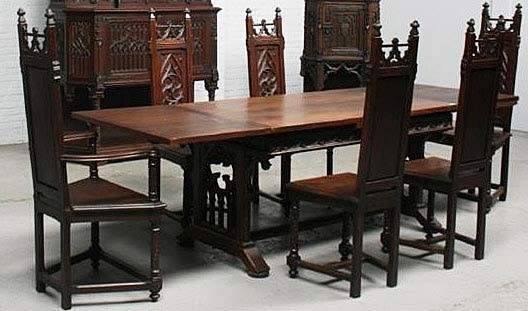 French Antique Gothic Dining Table Chairs