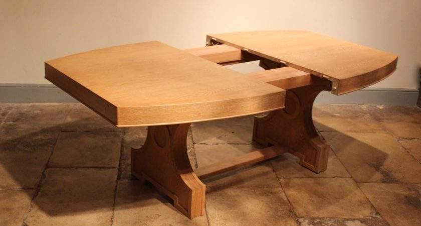 French Art Deco Style Limed Oak Extending Dining Table