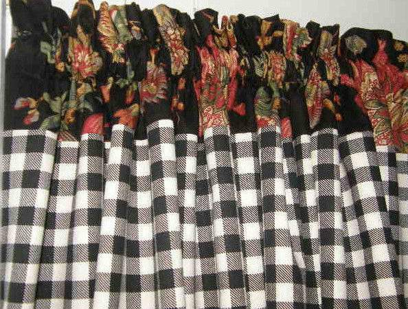 French Country Cafe Tiers Curtains Panel Drape Black Check
