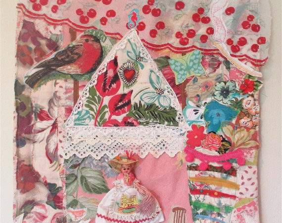 French Country Cottage Fabric Collage Folk Art Vintage Doll