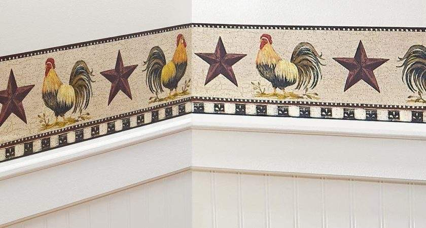 French Country Primitive Rooster Stars Checkered