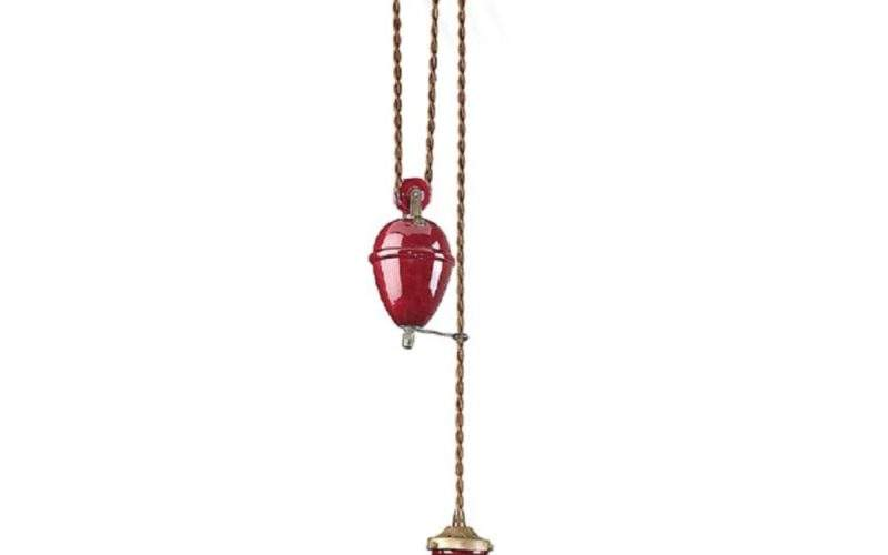 French Made Red Ceramic Rise Fall Ceiling Light
