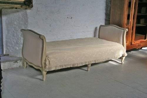 French Single Upholstered Sleigh Style Day Bed