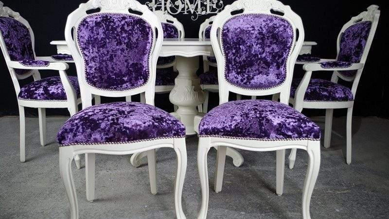French Style Dining Table Chairs Painted Vintage