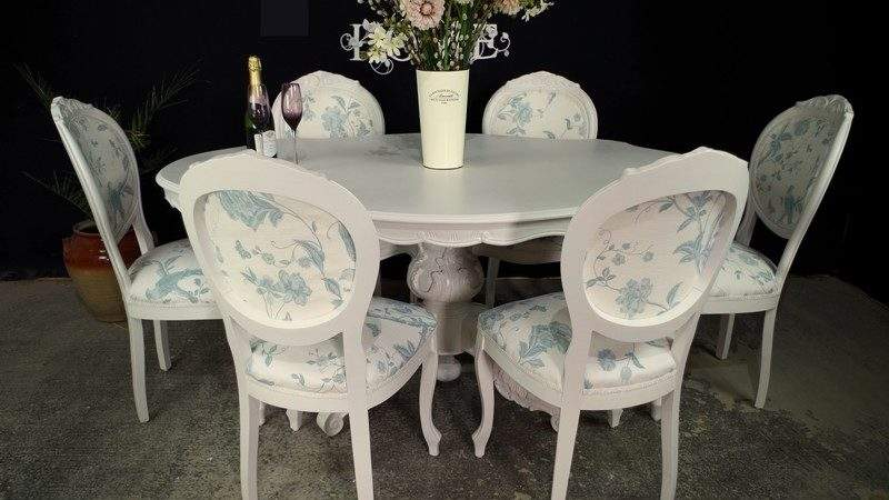 French Style Dining Table Laura Ashley Upholstered