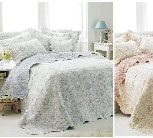 French Vintage Toile Bedspread Luxury Cotton Soft
