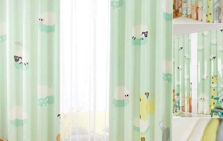 Fresh Light Green Zoo Patterned Nursery Curtains