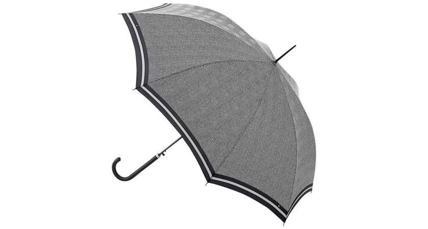 Fulton Riva Prince Wales Check Walking Umbrella Black