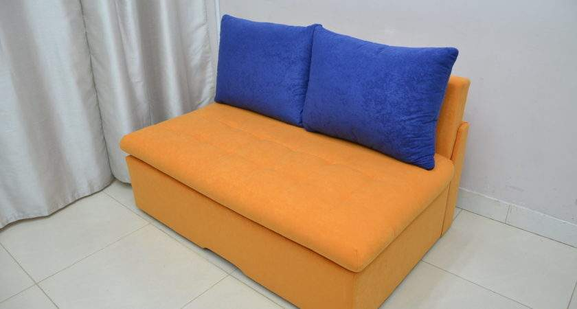 Funky Two Seater Sofa Bed Suedline Mandarin Royal Blue