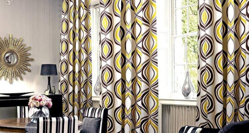Geometric Yellow Gray Curtain Large Living Room