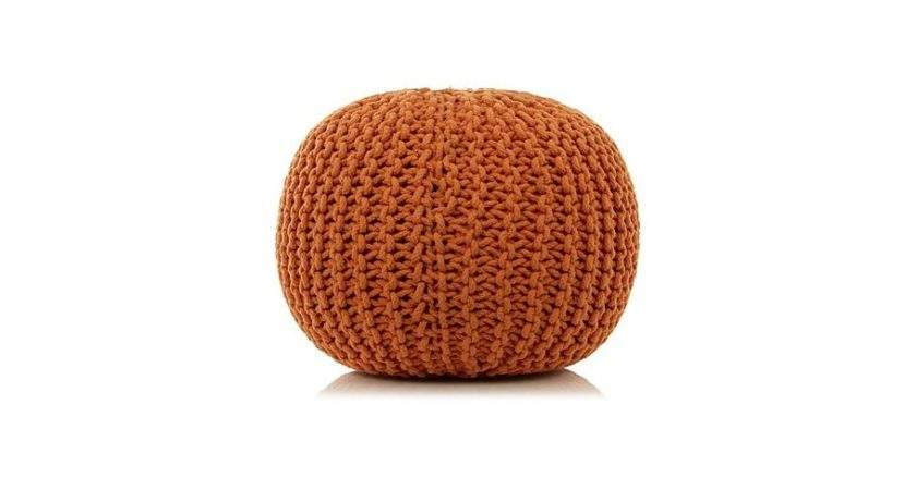 George Home Knitted Pouffe Orange Footstools Pouffes
