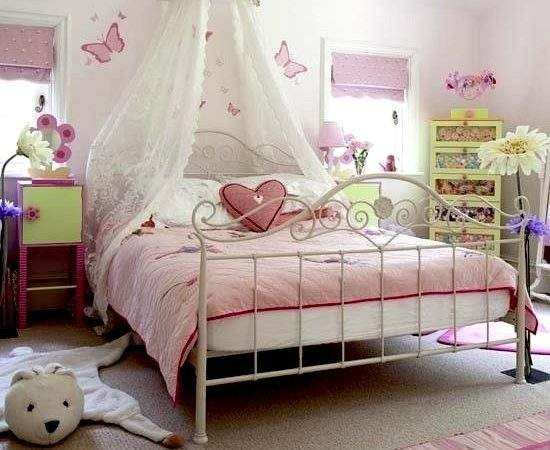 Girls Room Bed Canopy Sheer Curtain Ideas