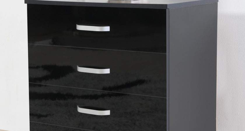 Gladini Black High Gloss Piece Bedroom Furniture Set