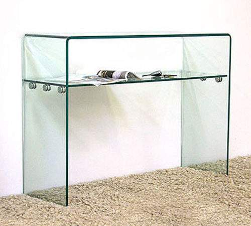 Glass Console Table Shelf Storage Large Clear Living