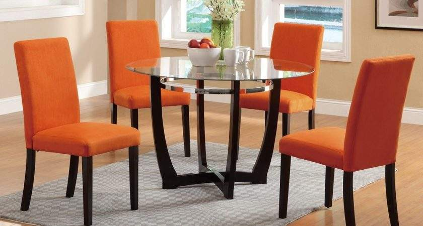 Glass Top Casual Madison Dining Table Orange Parson