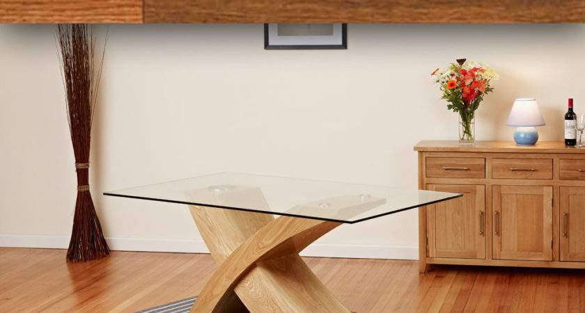 Glass Top Oak Cross Base Dining Table Room Furniture