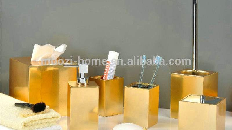 Gold Coloured Bathroom Accessories Ceramic Bath Set