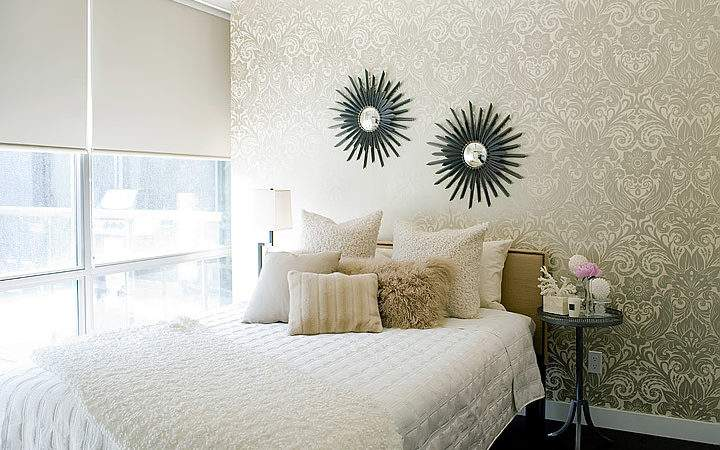 Gold Damask Contemporary Bedroom Jessica