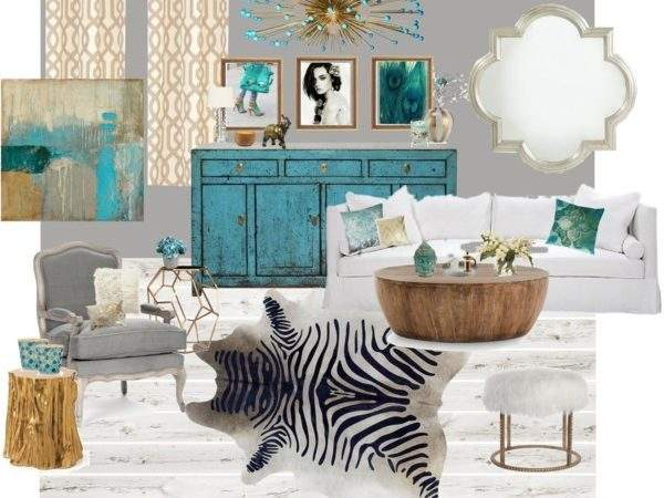 Gold Gray Turquoise Living Room Polyvore